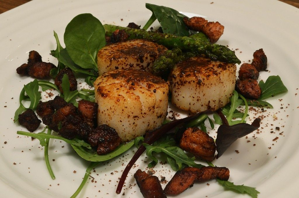 Scallops with chocolate  http://kingofthekitchen.net/scallops-with-chocolate/