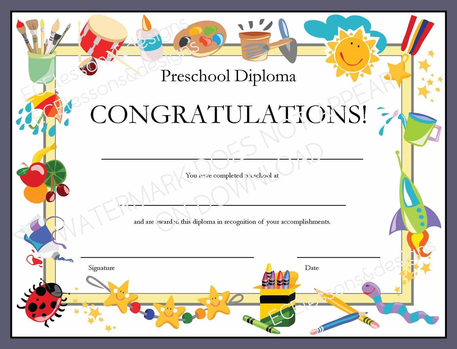 Diploma Certificate For Preschool Or Daycare Printable Pdf With Fill In Blanks For Child S Name School Date Graduation Certificate Template Kindergarten Diploma Preschool Diploma Free certificate template for kids