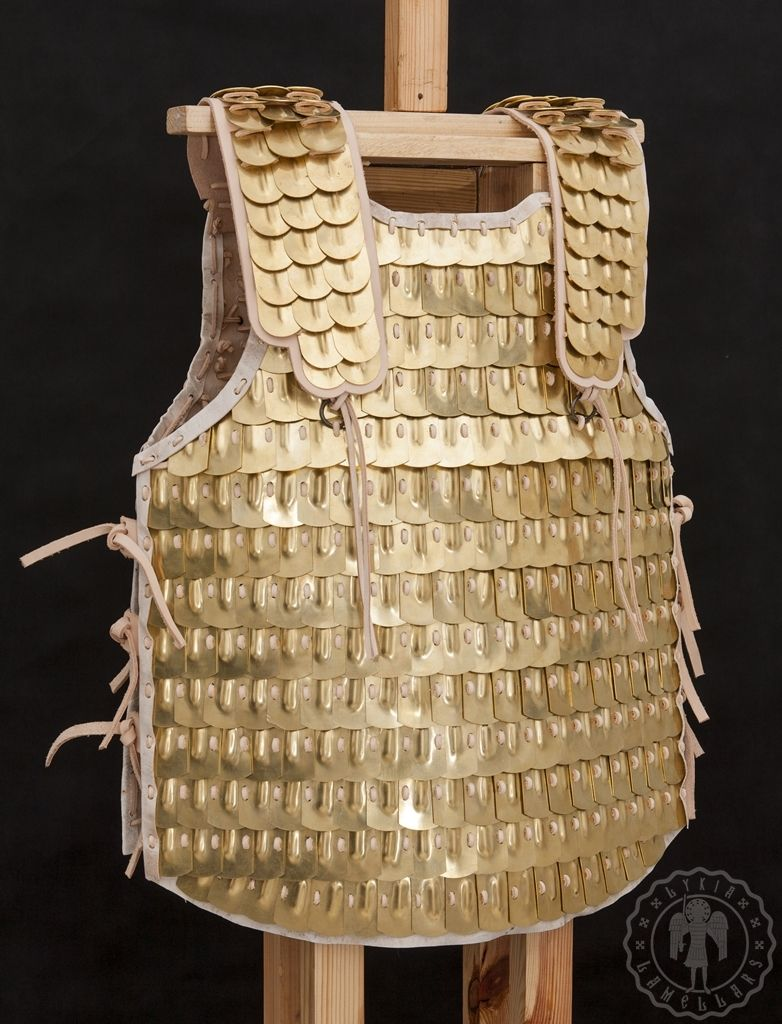 Brass scale armor. Plates thickness: 1mm. Undercoat made of crude doe leather. www.lykia.pl