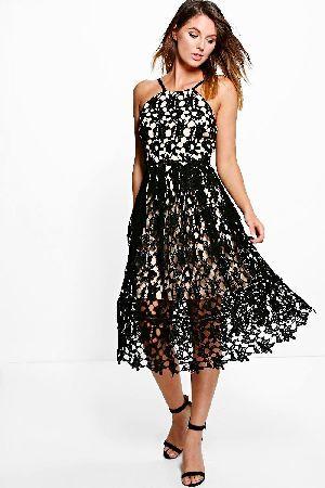4e74972cf8  boohoo Ria Strappy Lace Midi Skater Dress - black  Boutique Ria Strappy Lace  Midi