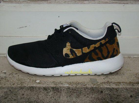 sports shoes 70c62 fc1d5 Custom Nike Roshe Run- Brown Cheetah Print Black Nike Roshe Runs - Women   Men Kids