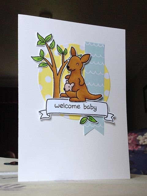 DONE -- kangaroo baby card - Lawn Fawn Critters Down Under