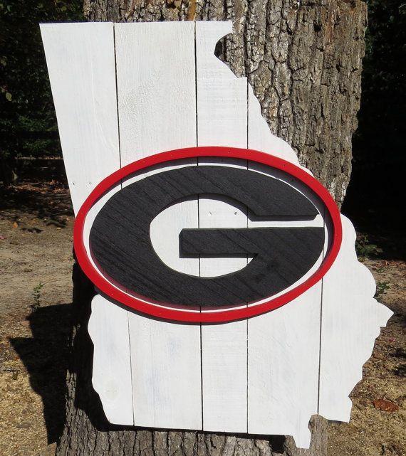 Georgia Bulldogs Wooden Pallet State Of Georgia Sign Custom Wood