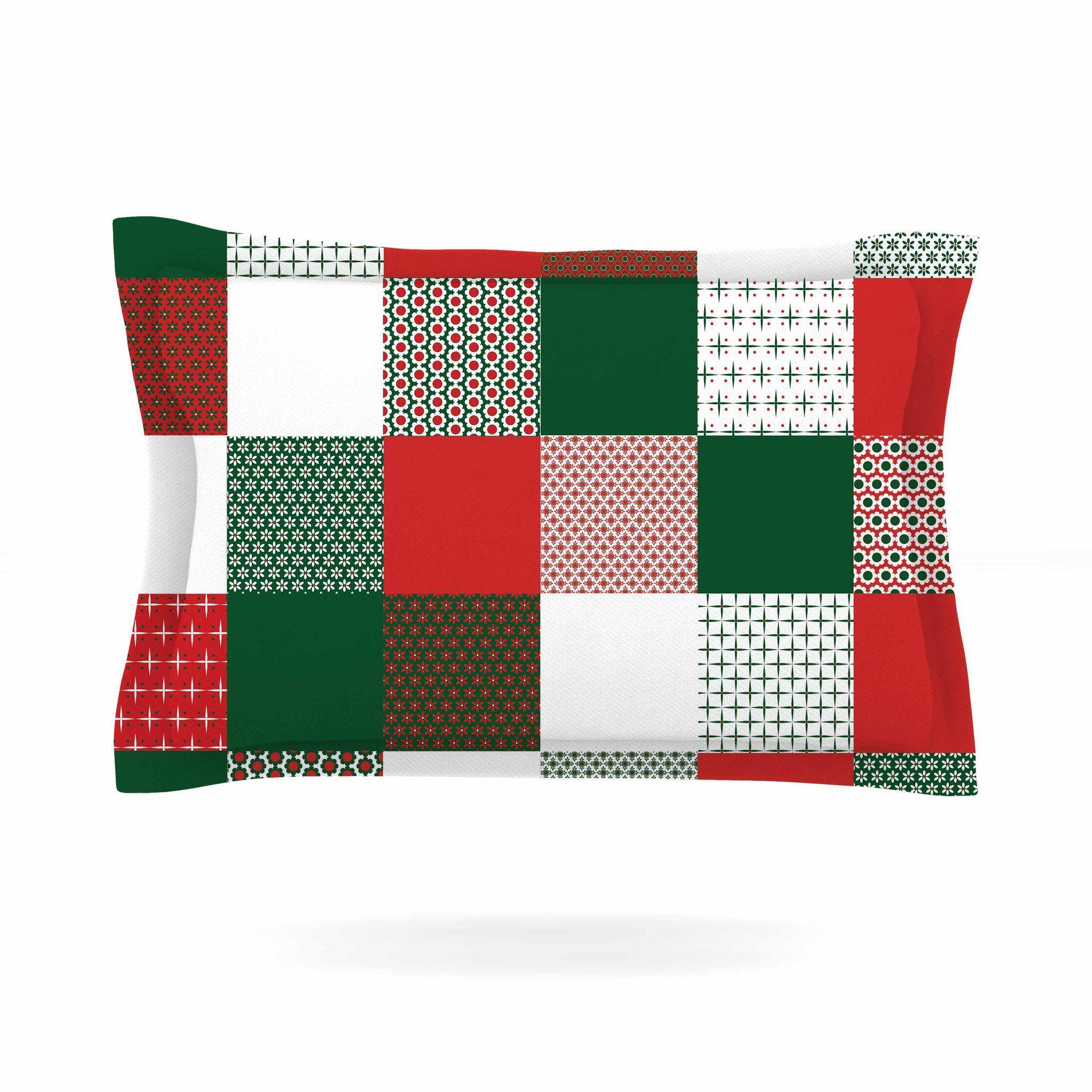 "Carolyn Greifeld ""Holiday Patchwork"" Red Green Pillow Sham"