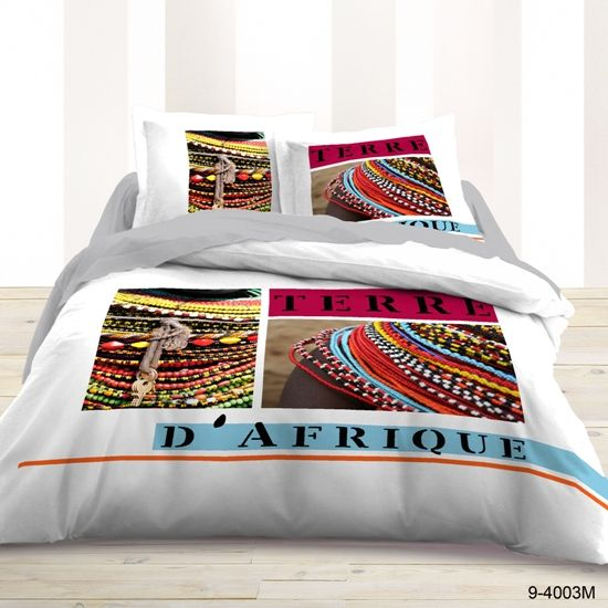 Housse de couette et deux taies d 39 oreiller terre d 39 afrique disponible sur notre site - Housse de couette africaine ...