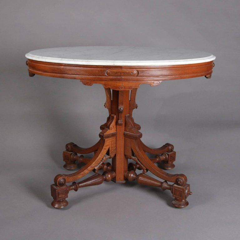 Victorian Carved Walnut Lamp Table