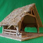 Crèche artisanale GABRIELLE, fait main, étable pour santons, bergerie, fermette, cadeau de Noël, déco de Noël, style rustique, durable