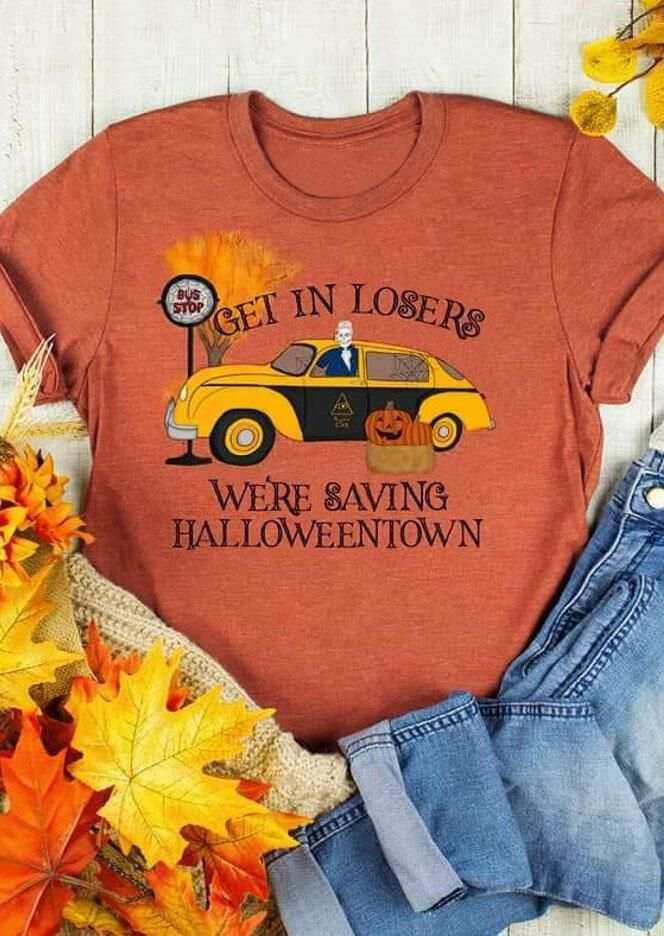 We're Saving Halloweentown Pumpkin T-Shirt Tee - Orange - Orange / XL