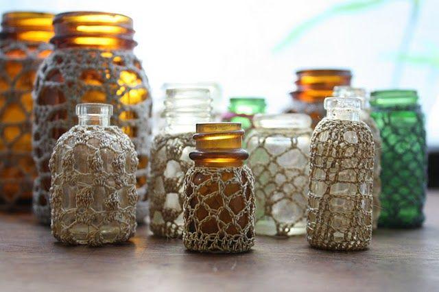 Crochet covered bottles.