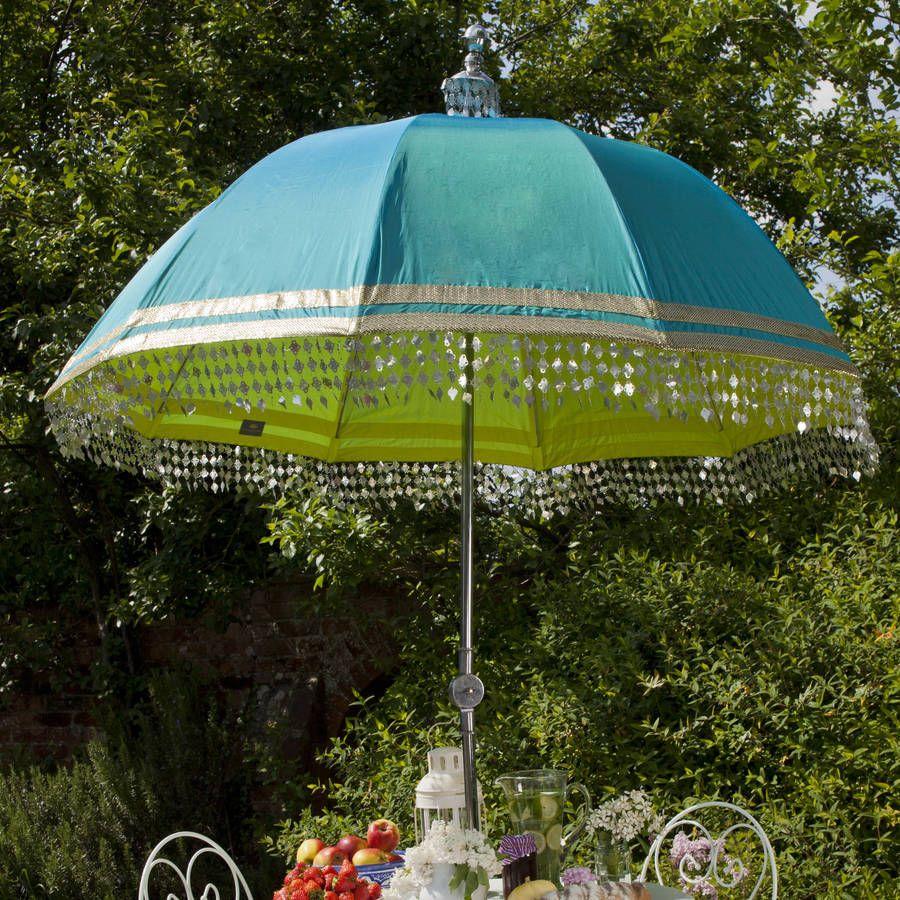 Indian Inspired Garden Parasol With Metallic Trim In 2019 Deck