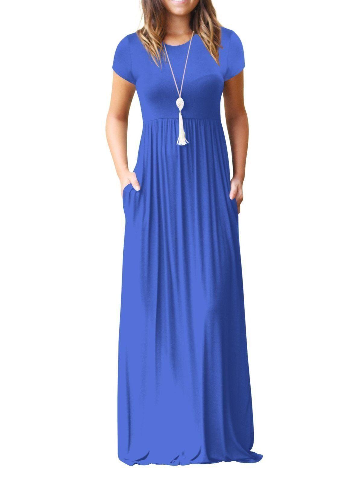 Women S Short Sleeve Maxi Dress With Pockets Plain Loose Swing Casual Floor Length Long Dresses Pocket Maxi Dress Short Sleeve Maxi Dresses Maxi Dress [ 1583 x 1187 Pixel ]