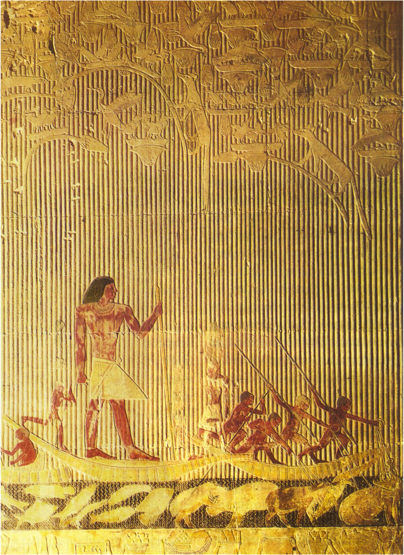 Ti watching a hippopotamus hunt, relief in the mastaba of ...