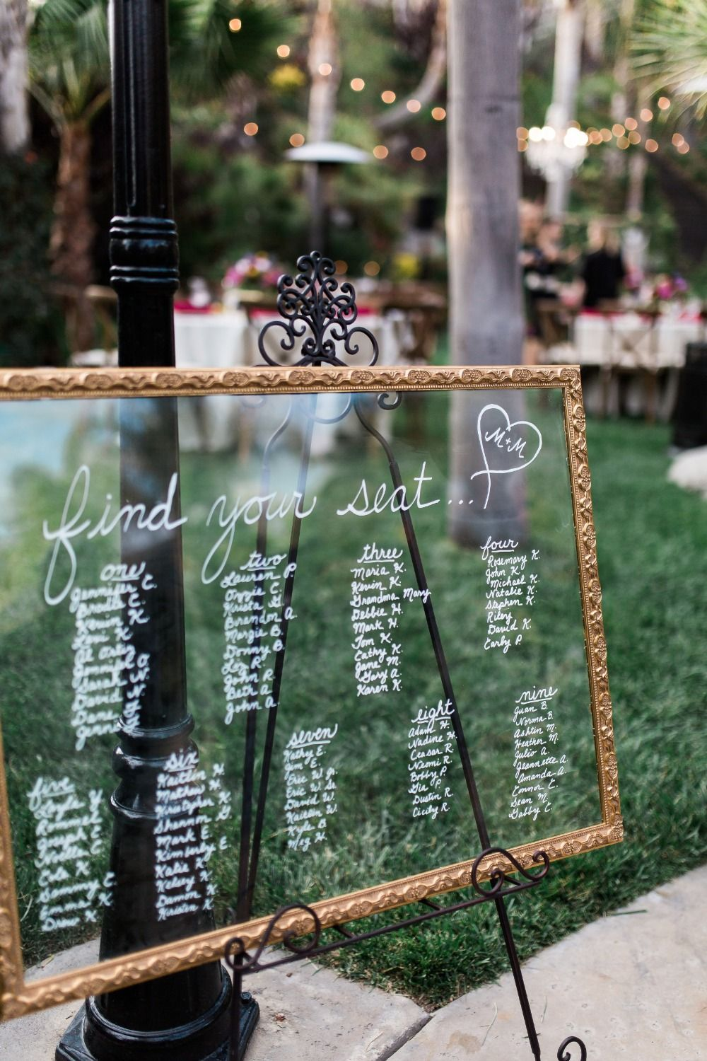 Glass seating chart idea also love was in the air at this dreamy bohemian chic outdoor wedding rh pinterest