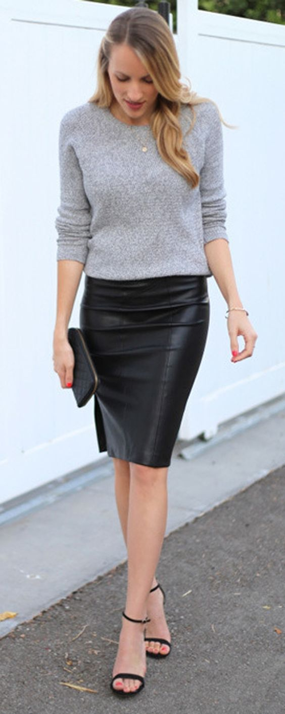 Grey blouse and a black leather skirt LadyStyle | Casual