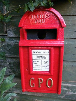 Bird Nesting Box designed to replicate a Royal Mail GPO Post Box ©