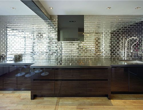 Beveled Mirror Glass Subway Tile Glossy Kitchen Mirrored Subway Tile Mirror Tile Backsplash