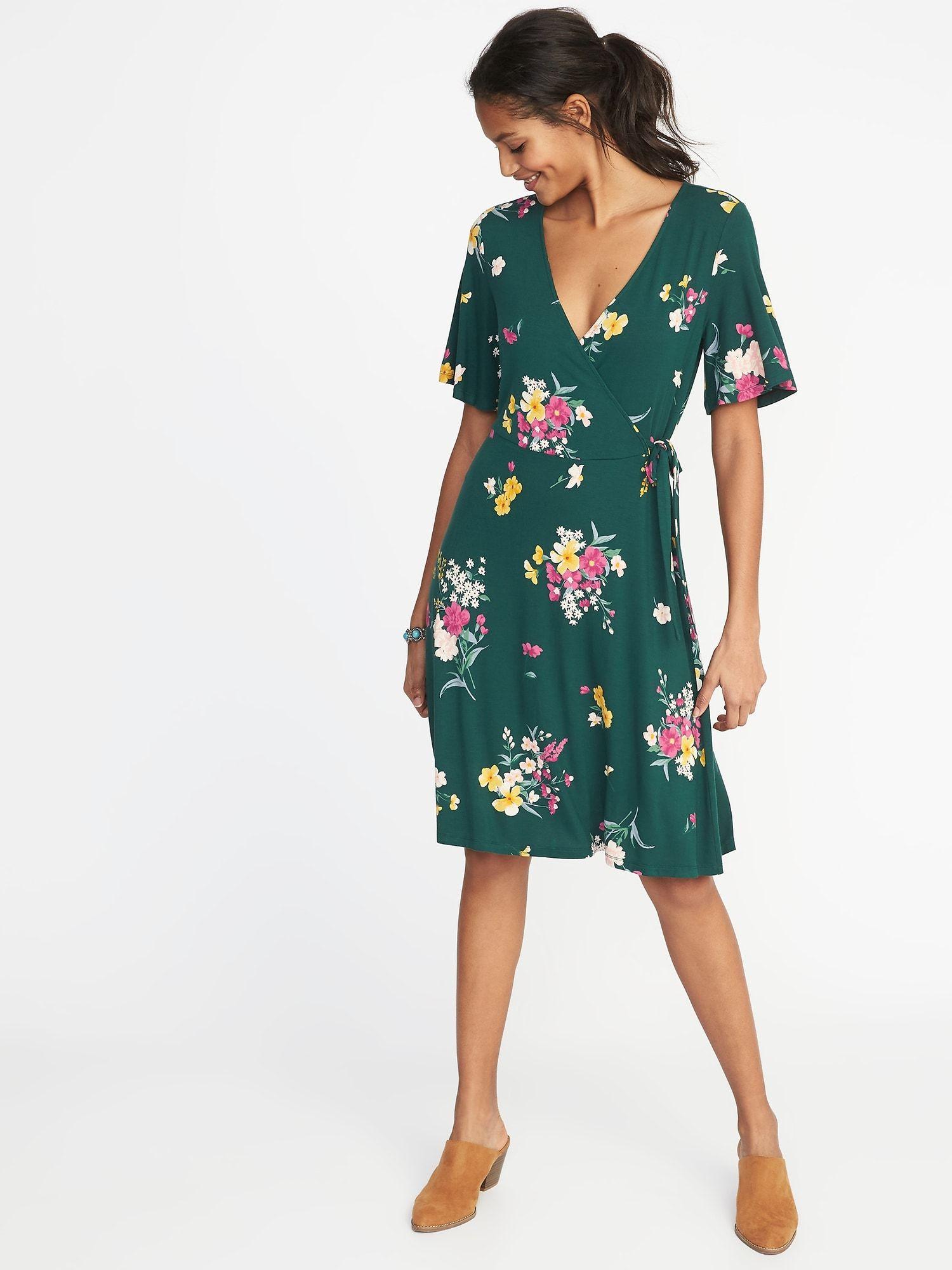 Old Navy Faux Wrap Dress Womens 3X Plus Burgundy Floral Georgette Waist Defined