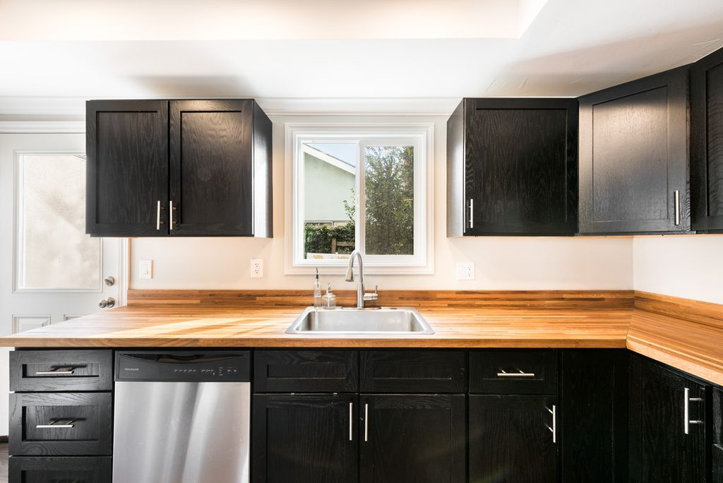 Contemporary Kitchen With Wood Butcher Block Countertop In