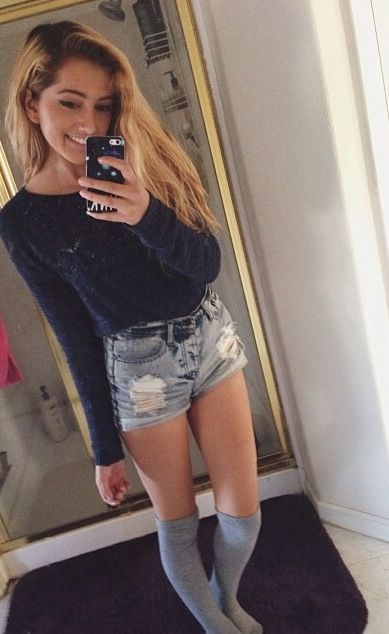 Cropped Top Denim Shorts And Grey Socks Lovely Outfit
