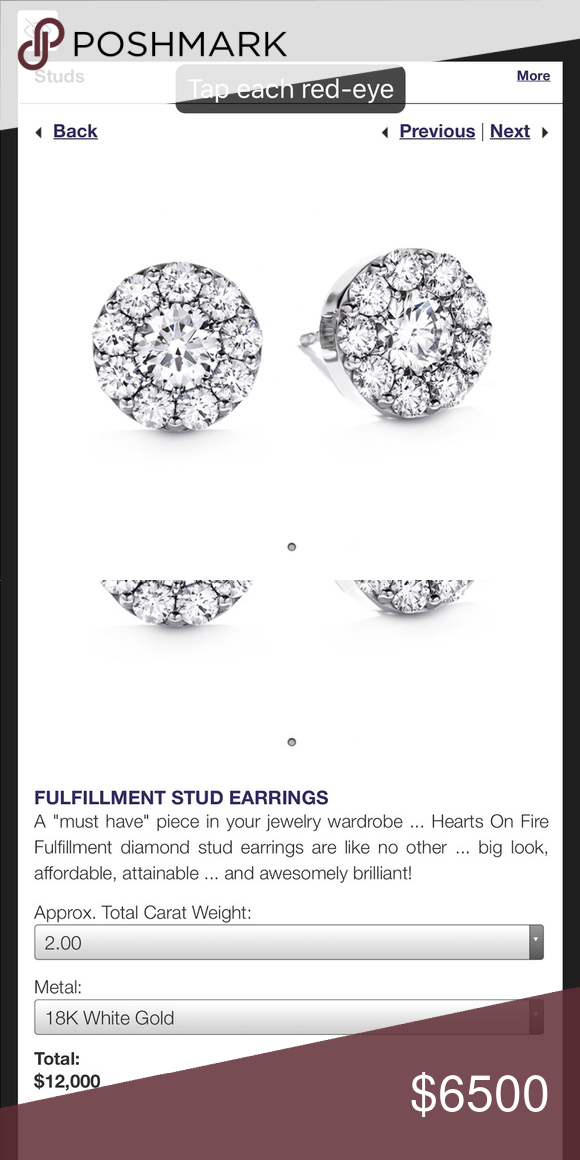 87ff865cf Diamond earrings Certified hearts on fire 2 carat total weight diamond set  in 18k white gold. They set very flat on the ear for maximum sparkle hearts  on ...