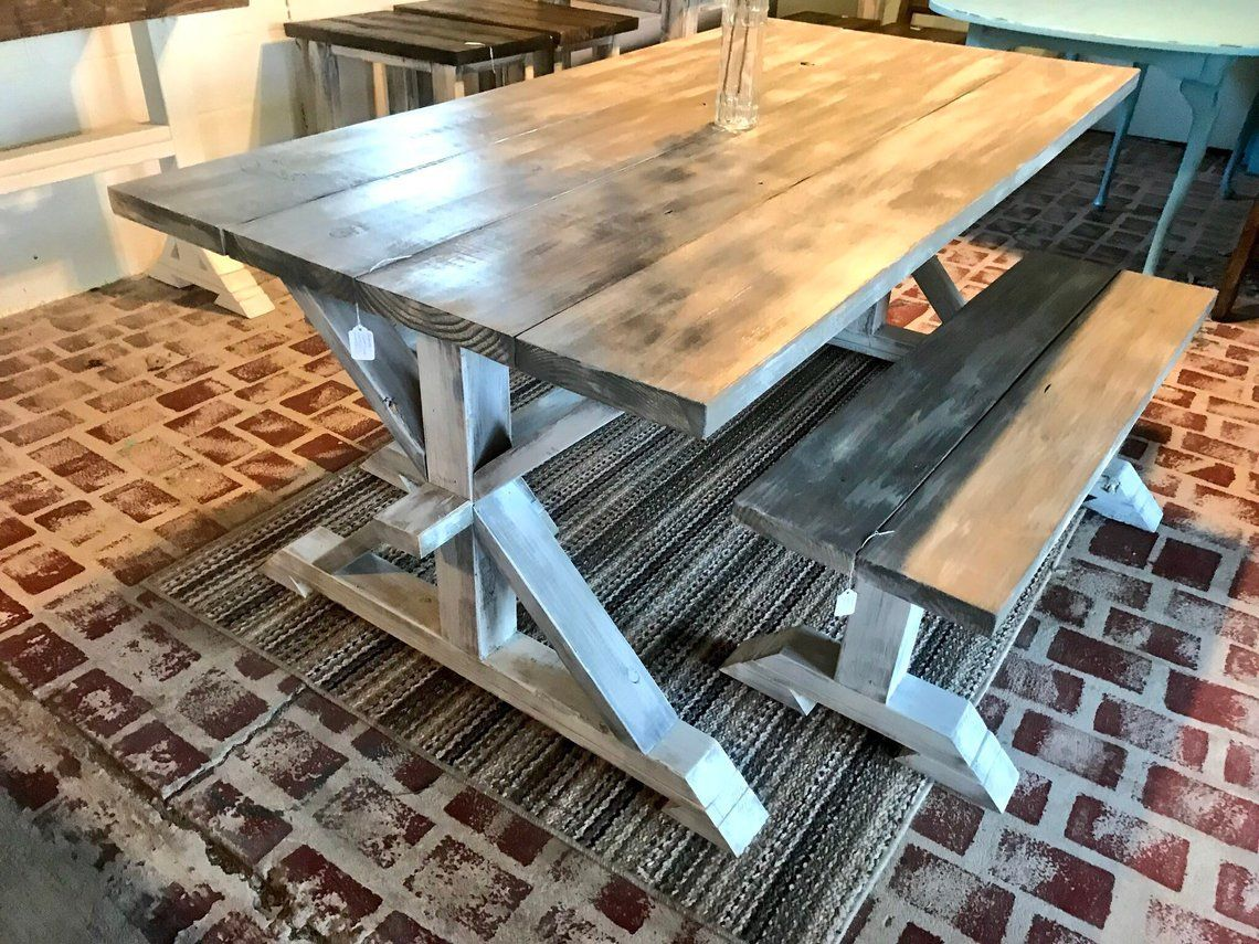 Awe Inspiring Rustic Pedestal Farmhouse Table With Benches Gray White Wash Machost Co Dining Chair Design Ideas Machostcouk
