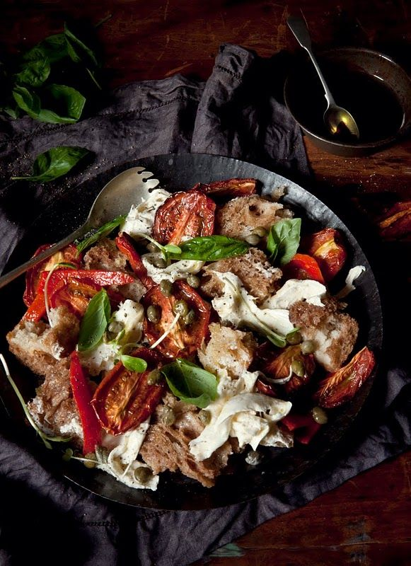 panzanella salad - a twist with capers and red peppers