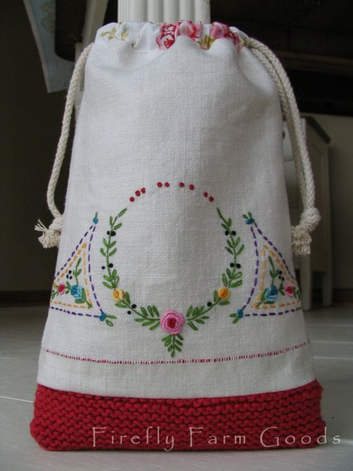 embroidered linen and crochet combined in a cute drawstring bag