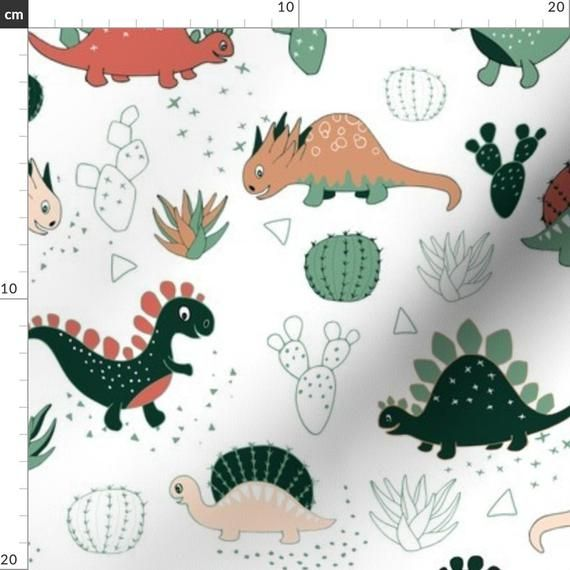 Cartoon Dinosaur Nursery Fabric - Succulents Dinos (Large Scale) By Gabriellemutel - Succulent Cotto #dinosaurnursery