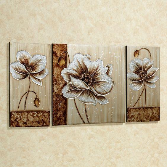 Subtle Elegance Floral Canvas Art Multi Metallic Set Of Three Floral Wall Art Canvases Flower Art Painting Art Painting Oil