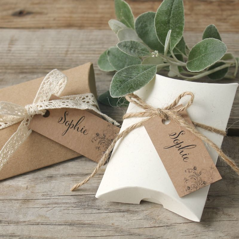 Kraft And White Pillow Boxes Ideal For Wedding Favours Usb Wedding