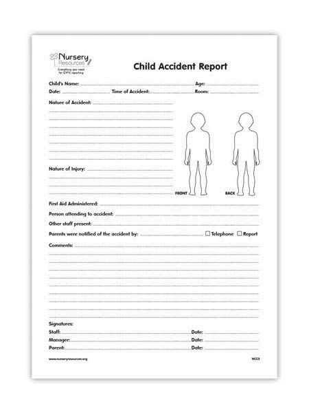 The Child Accident Report Forms Is Used To Record Any Accidents A Child Has  Had Whilst Under The Supervision Of An Early Years Provider.  Incident Form Template