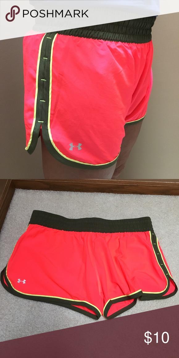 UnderArmour Women's Running Shorts hot pink with olive green band underarmour running shorts. lightly worn. Under Armour Shorts