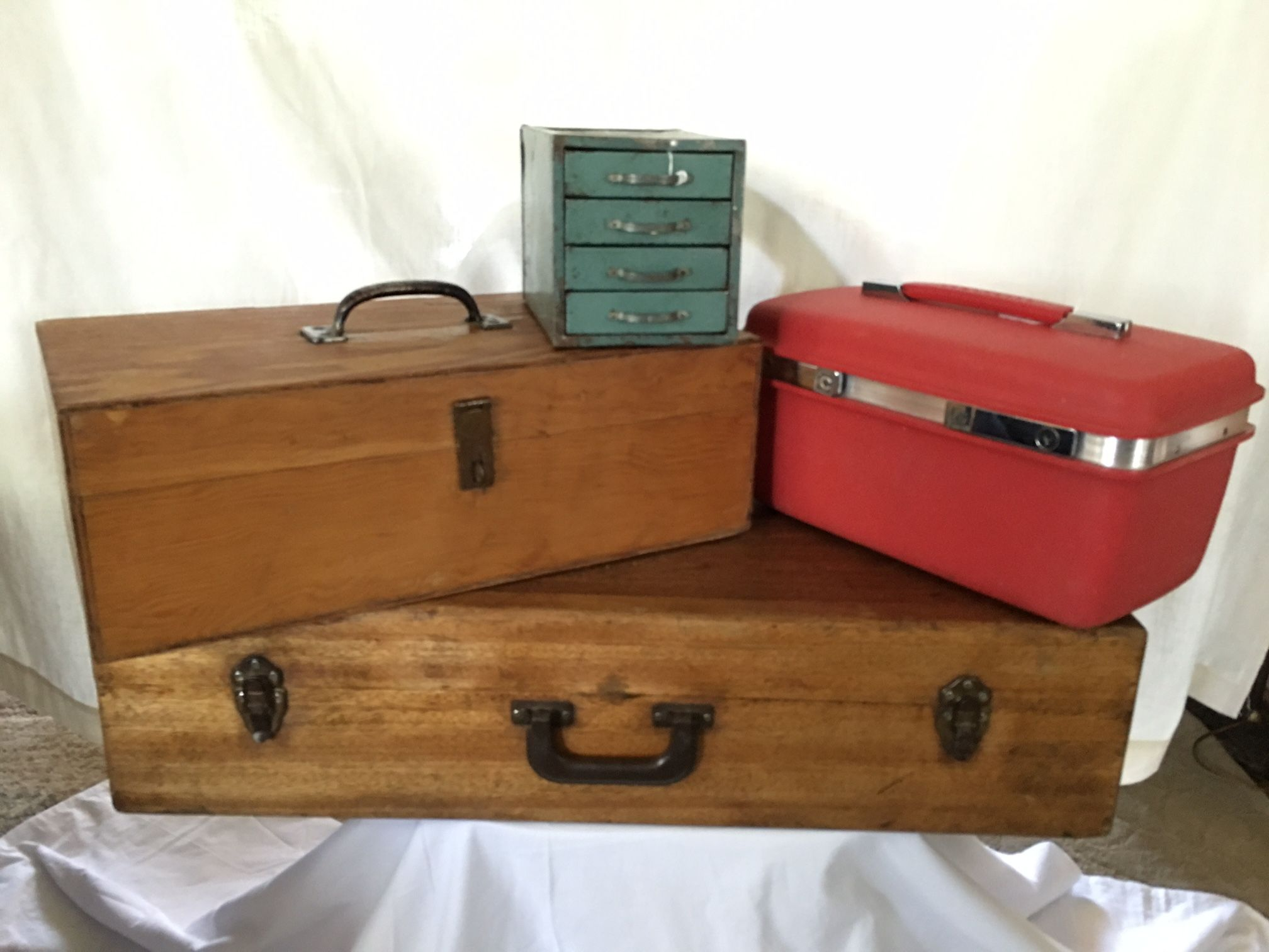 Nice wood boxes, Red Samsonite Makeup case, Cute Green Industrial Box with Drawers.