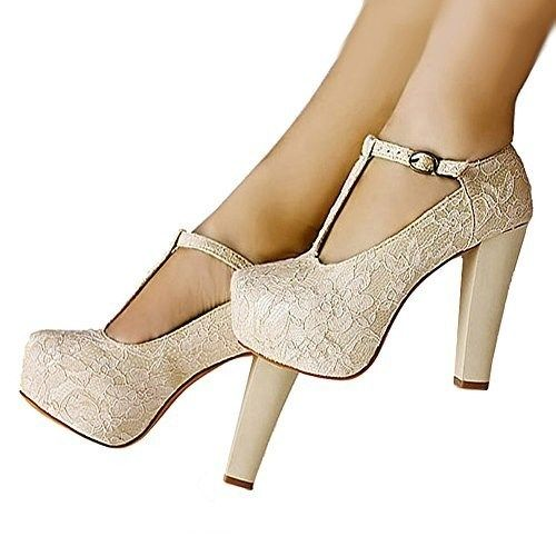 getmorebeauty Women's Marty Janes T-Strappy Lace Women Dress Wedding Shoes 6 B(M) US
