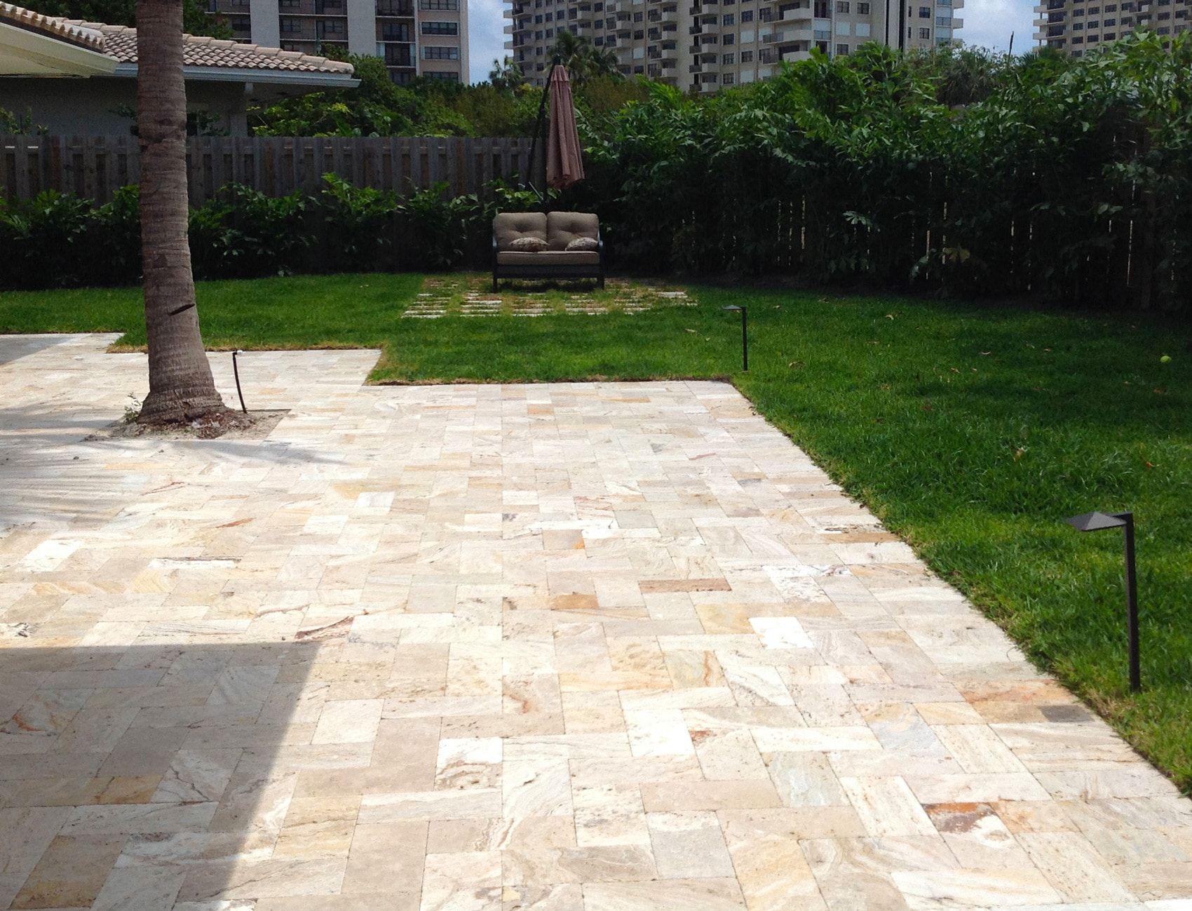 "beautiful patio deck using sefa stone 6x12"" leonardo travertine"