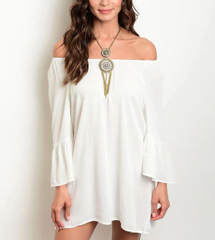 Cold Shoulder Flare Bell Sleeve White Mini Dress White