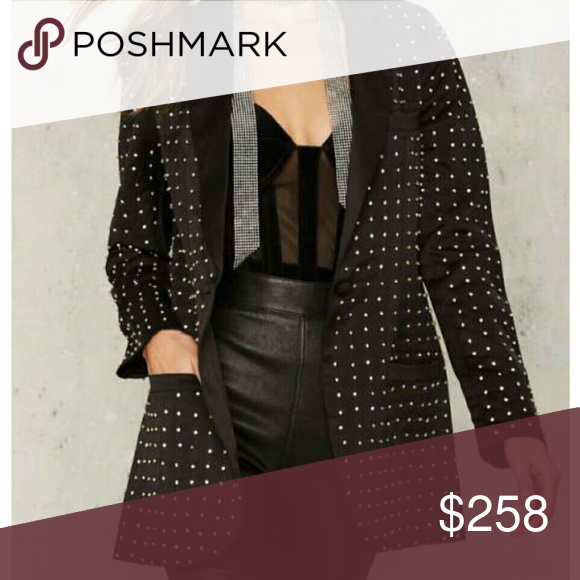 Nasty Gal Charleston Diamante Blazer This beautiful black blazer features a peak collar, three welt pockets at front, and padded shoulders. By Nasty Gal Collection.  - No Trades! - Offers Considered! - HaPpY PoShInG 💋 Nasty Gal Jackets & Coats Blazers