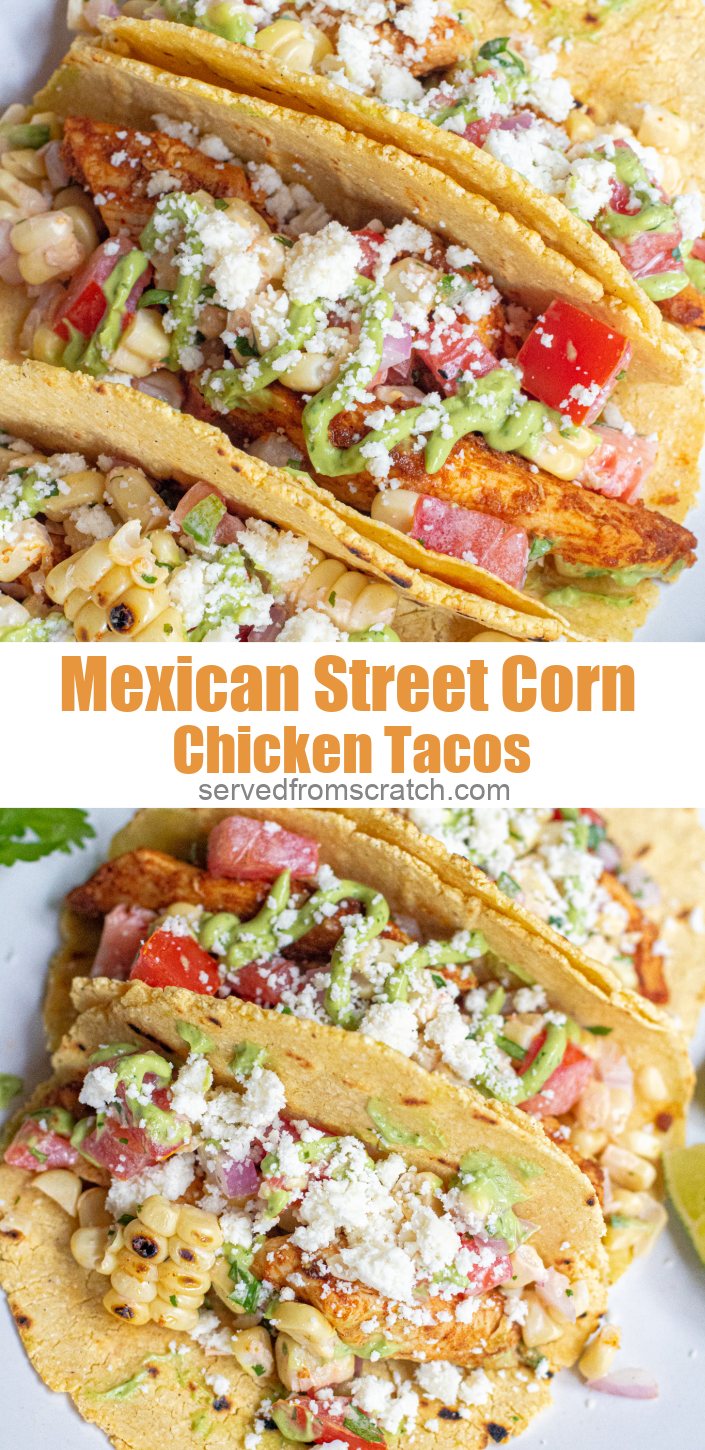 Inspired by one of our favorite side dishes and our love for tacos, these Mexican Street Corn Chicken Tacos have flavorfully spiced chicken, corn salad, and a creamy avocado sauce, all wrapped up in a homemade corn tortilla!