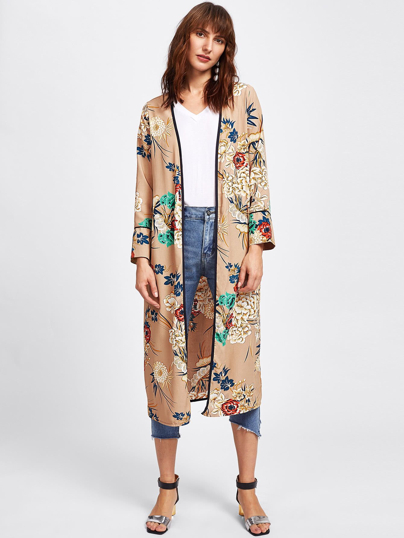 3cfb3effe8 Shop Botanical Print Tie Waist Kimono online. SheIn offers Botanical Print  Tie Waist Kimono & more to fit your fashionable needs.