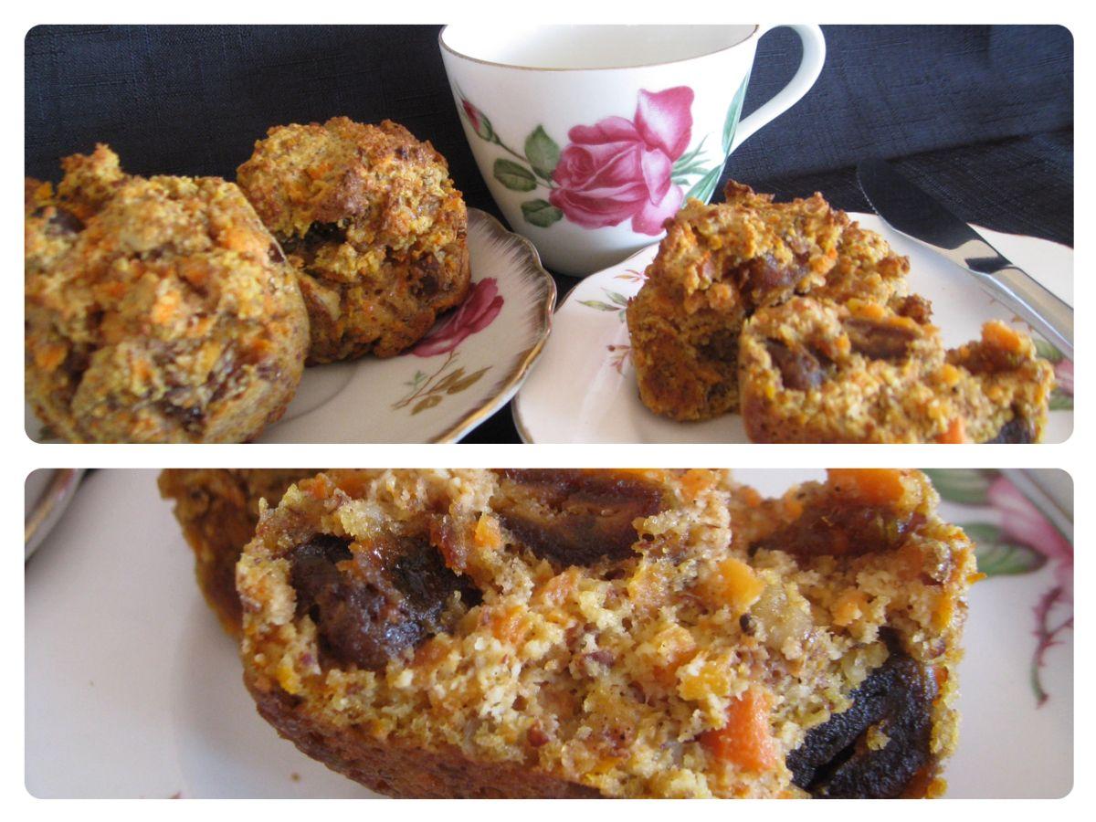 Jai's awesome muffins (Thermomix) 2 cups almond meal 1 ½ cups grated carrot 1 mashed banana 1 cup walnuts 1 cup chopped dates 3 eggs 2 teasp. Baking powder 1 teasp. Cinnamon ¼ cup coconut oil -