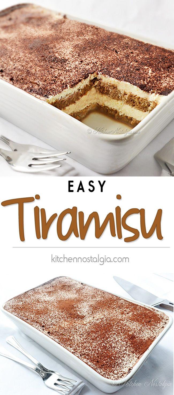 Easy Tiramisu Recipe - easy 5-minutes, no-bake tiramisu recipe without eggs