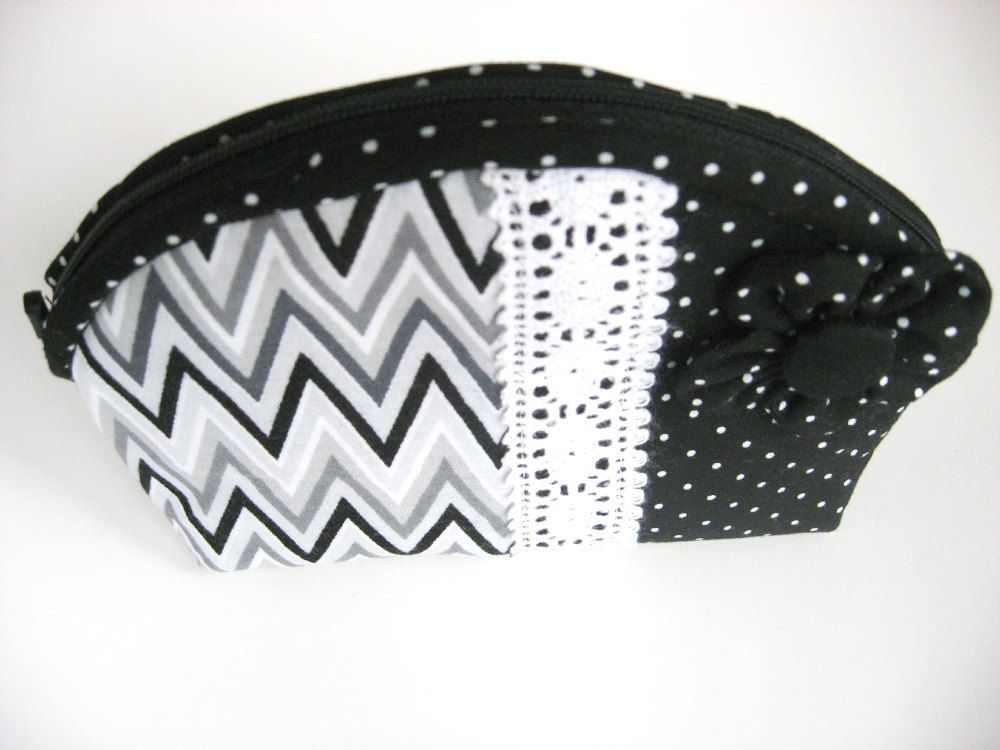 Black and White Change Purse, White Grey and Black Chevron Black and White Polka Dot Coin Purse, by MountainAirBoutique on Etsy