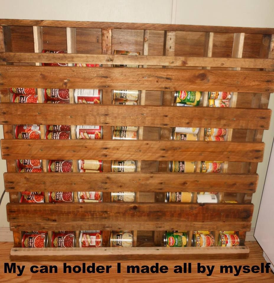 Homemade Canned Goods Holder Made From A Pallet Pallet Projects Furniture Pallet Pantry Wooden Pantry