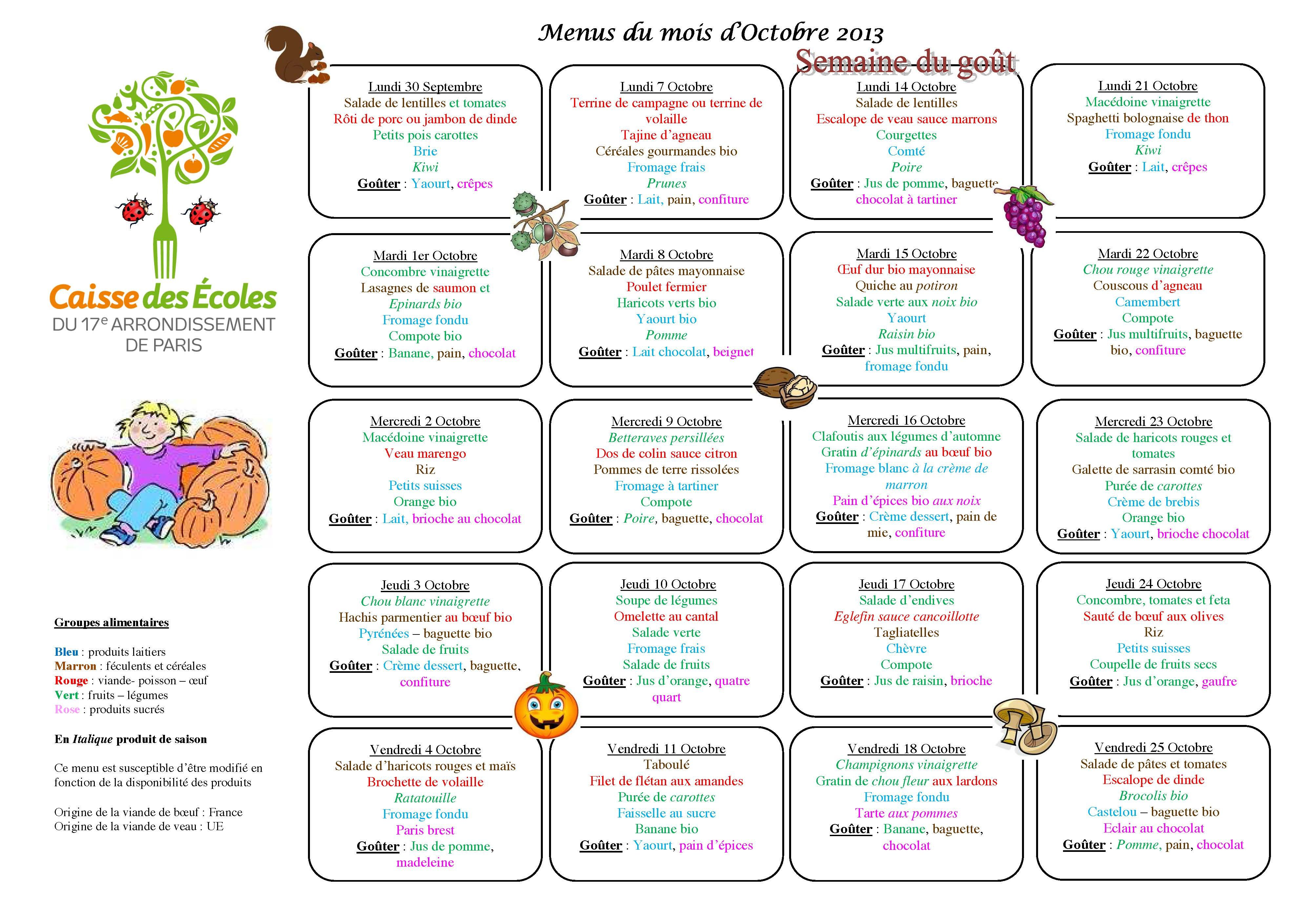 french kids school lunch menus from a different city each week ...