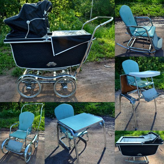 Baby Carriage Pram Babyhood Wonda-Chair High Chair Stroller Navy Aqua  1960s. Mom and - Reserved For Greetingcardland - Baby Carriage Pram Babyhood Wonda