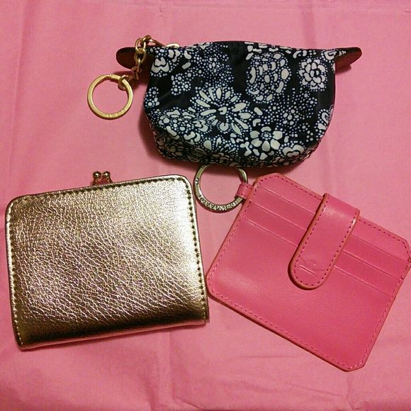 3 Wallets/Card & Coin Holders Blue coin pouch is new without tags Gold wallet is also new without tags  Pink card holder is barely used   Price listed is for ALL 3!! Bags Wallets