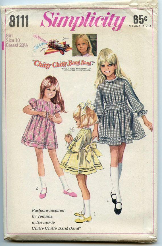 1960s Vintage Sewing Pattern Simplicity 8111 Chitty-Chitty-Bang-Bang ...