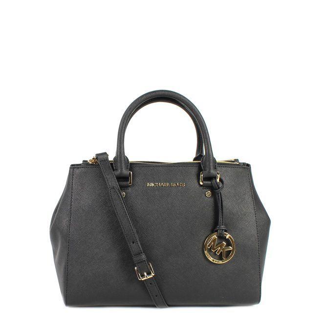 9dd164a259e9c7 Michael Kors Sutton Medium Satch 30S4GTVS6L Black Tassen handtassen online  kopen