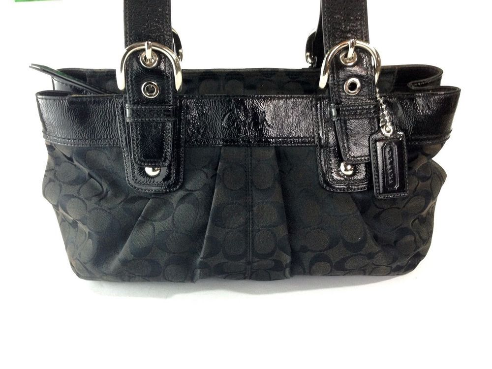 Coach F13742 Soho Signature Black Purse Hand Shoulder Hobo Bag Pleated MSRP $358 #Coach #ShoulderBag