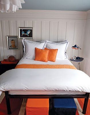light blue, navy, orange bedroom Bedrooms in 2018 Pinterest - Orange Bedrooms